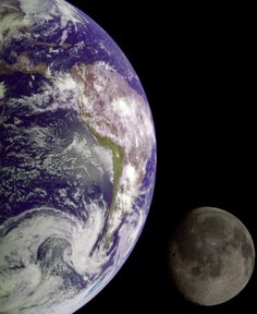 During its flight, the Galileo spacecraft returned images of the Earth and Moon. Separate images of both were combined to generate this view.