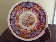 Antique Copeland SPODE England Continental Views Polychrome Bread Plate 1932