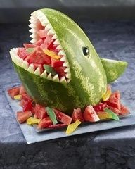 "perfect for finding nemo theme party. Cute waterme lon shark ""cake"". Watermelon bowl. Summer party. Fruit bowl."