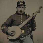 An unidentified Union soldier holds a banjo. - divided and United new CD of Civil War era music