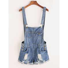 Distressed Rolled Hem Overall Denim Shorts ($21) ❤ liked on Polyvore featuring shorts, blue, blue shorts, bib overalls, overalls shorts, distressed shorts and blue denim shorts