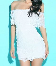 White lace collar low-cut package hip dress AX082508ax