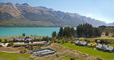 Aerial view of Blanket Bay Resort, Glenorchy, New Zealand