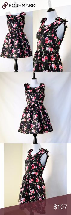 NWT Luna Shoulder Ribbon Fit&Flare Black Dress New with tag Luna of London  Floral Printed Fit and Flare Sleeveless Dress  Ribbons on the both shoulders Lining Black  Silk 70% , Cotton 30% No size tag  Size S (2,4) Luna Dresses Mini