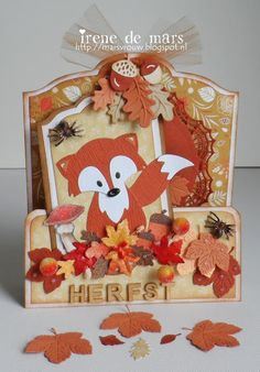 Irene's Scrapbook 3d Cards, Pop Up Cards, Cute Cards, Cardboard Crafts, Paper Crafts, Marianne Design Cards, Scrapbook, Thanksgiving Cards, Fall Cards