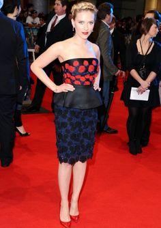 Scarlett Johansson wearing peplums