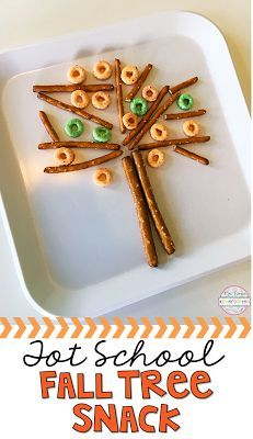 Build a Fall Tree snack with pretzels and apple jacks