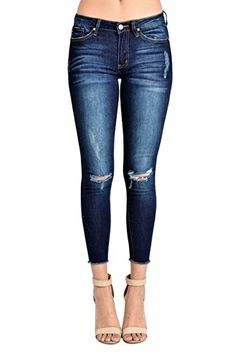 25df889e4ed Kancan Kan Can Women's Mid Rise Destroyed Skinny Jeans Dark Wash KC6003D  Diy Ripped Jeans,