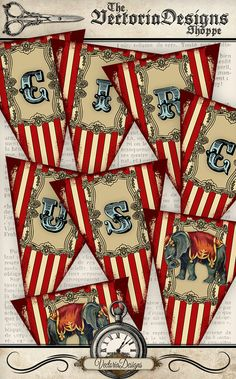 Printable Circus Banner Bunting party banner instant download digital collage sheet VDBACI0923