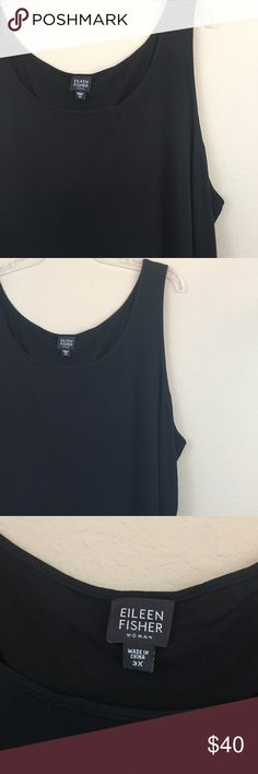 """Eileen Fisher 100% Silk Black Sleeveless Blouse Perfect basic wardrobe staple for your closet! Eileen Fisher 100% Silk Tank Top. Color solid black. Lightweight & flowy. Size 3X Measurements: bust-26"""", length-28.5""""  *No trades or modeling *Smoke free home Please feel free to ask me any ?s & don't forget to bundle your likes for an AH-mazing discount!  H192 Eileen Fisher Tops Tank Tops"""
