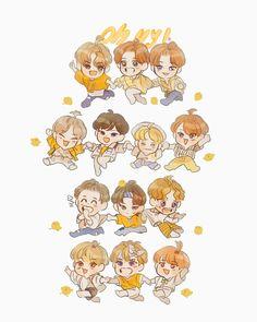 Woozi, Wonwoo, Jeonghan, Carat Seventeen, Seventeen Debut, Hiphop, Seventeen Wallpapers, T Art, Cute Cartoon Wallpapers
