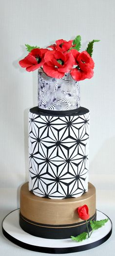 Starburst And Poppy Flowers Cake