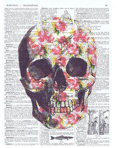 Sugar Skull.Roses.Birthday.GiftFrench.Antique by JackieBassettArt