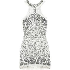 Rachel Gilbert Sequin halter mini dress ($560) ❤ liked on Polyvore featuring dresses, tops, vestidos, silver, white sequin dress, white halter dress, white halter top, sequin mini dress and sequin dress