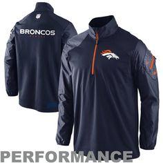 Nike Denver Broncos Performance Hybrid Quarter Zip Pullover Jacket in Navy