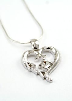Alpha Gamma Delta Sterling Silver Heart Pendant with Swarovski™ Clear Crystal