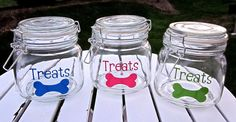 For Wall-E: Personalized Dog Treat Jar- NEW COLORS- Great Gift for Dog Lovers