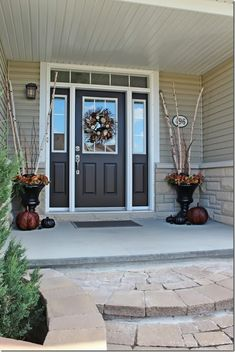 We painted our front door Sherwin Williams 'Weathervane' a deep chocolate brown color. It looks wonderful with the greige siding, the stone ...