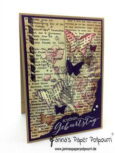 jpp - Newspaper Papillion Birthday Card / Geburtstags Karte / Camouflage / stampin' Up! Berlin / Erstausgabe / Schmetterlingsgruß www.janinaspaperpotpourri.de