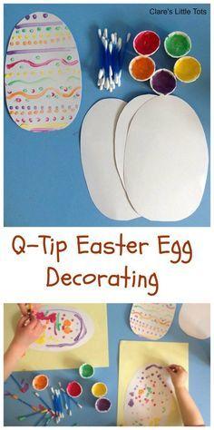 Q-tip easter egg decorating - an easy DIY craft for Easter celebrations #Eater #crafts #DIY