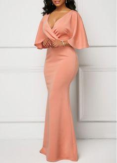 Wrap V Neck Pink Half Sleeve Mermaid Dress | Rosewe.com - USD $34.90