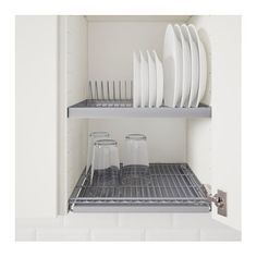 IKEA - UTRUSTA, Dish drainer for wall cabinet, cm, , Can be mounted in a wall cabinet to free up space on the worktop.The included tray collects runoff water and is easy to clean since it can be taken out of the cabinet. Plate Shelves, Plate Storage, Plate Organizer, Plate Racks, Ikea Cupboards, Kitchen Cabinets, Kitchen Drawer Organization, Kitchen Storage, Kitchen Sets