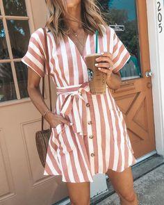 bf85c4f7950a Dooerzi Bohemia Short Sleeves Striped Mini Dress Look Com Vestido