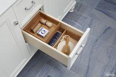Love this bathroom storage featuring Kohler Damask tailored vanity