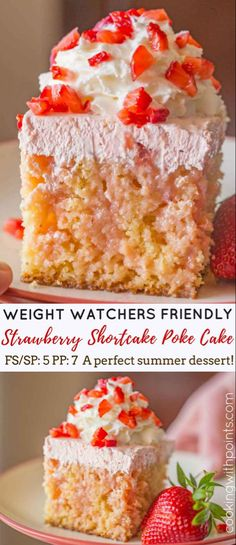 Weight Watchers friendly recipe for a gorgeous dessert. Strawberry Shortcake Poke Cake made with applesauce and pineapple chunks, filled with strawberry condensed milk and strawberry whipped topping for just 5 smart points per serving . Weight Watcher Desserts, Weight Watchers Kuchen, Plats Weight Watchers, Weight Watchers Diet, Weight Watchers Cupcakes, Weight Watchers Strawberry Pie Recipe, Weight Watchers Recipes With Smartpoints, Pastas Recipes, Ww Recipes