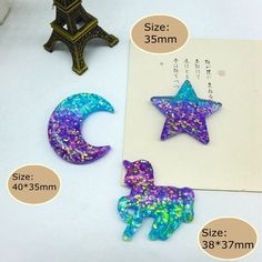 20x Assroted Sequined Resin Flatback Cabochon Embellishments for Kids Craft