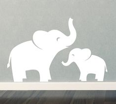 Mom & Baby Elephant Wall Decal Set  Jungle by TweetHeartWallArt, $32.00