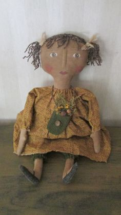 Primitive Doll with bag of flowers by Bettesbabies on Etsy, $43.00