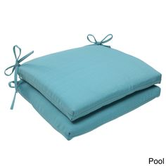 Pillow Perfect Outdoor Forsyth Squared Seat Cushion (Set of 2) (Forsyth Pool), Blue (Fabric), Outdoor Cushion