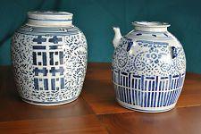 """Asiatische chinesische White & Blue Porzellan """"Glück & Wedding"""" Teekanne & Ingwer jara"""