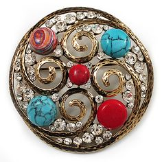 Vintage Round Turquoise Style Crystal Brooch