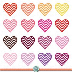 Digital Love Clipart,Wedding,Love,Chevron Hearts,Valentine's Day,Clip Art Hearts,Mother's Day, invitaion Vd010 Personal and Commercial Use.
