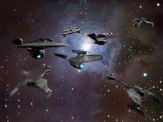Federation Task Force facing down the Klingon Fleet