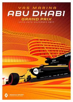 Renault Sport Team poster van Grand Prix in Abu Dhabi Sport F1, Sport Cars, Motor Sport, Formula 1, F1 Posters, Abu Dhabi Grand Prix, Gp F1, Sports Graphic Design, Sport Design