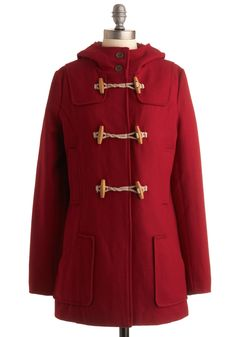 Talk the Toggle Coat - Red, Solid, Long Sleeve, Fall, Winter, Long