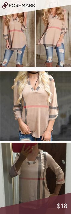 Casual top V neck casual top Description  100% Brand New,  Material: Polyester Pattern: Plaid / Grid / Checkered / Tartan Type: Tee Tops / T-shirt / Blouse Occasion: Casual Neckline: V Neck Sleeve Type: 3/4 Sleeve / Roll-up Sleeve Tops