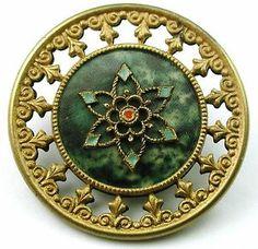 Antique Victorian Celluloid Button Fancy Brass Floral w Pierced Brass Border   eBay