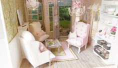 """My newest custom dollhouse is ready with all the furniture, accessories and garden. I call her """"Flamingo Cottage""""! I saw a photo of a chil..."""