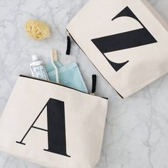 Initial Wash Bag Natural. Initial wash bags from Alphabet Bags. A super heavy canvas wash bag printed with your choice of initial, big and bold!