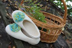 White Handmade Women Felted Shoes  Ballet Slippers by FeltZeppelin