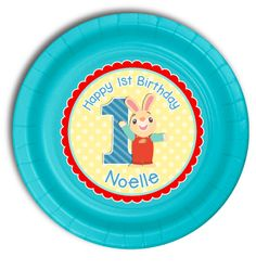 """12 Harry the Bunny Personalized Party Plates 7"""" Cake & Snack Size"""