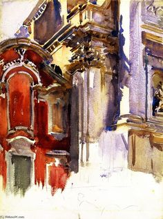 The Athenaeum - San Stae, Venice (unfinished) (John Singer Sargent - ) 1913 Watercolor Architecture, Watercolor Landscape, Watercolor Paintings, Watercolours, Abstract Landscape, John Singer Sargent Watercolors, Sargent Art, Venice Painting, Traditional Paintings