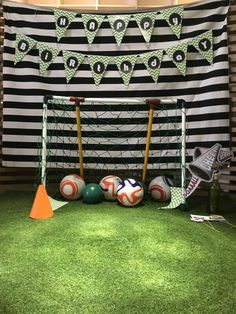 The soccer goal for birthday photo booth.