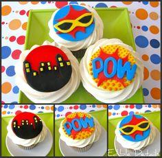 12 Classic Super Hero Cupcake Toppers
