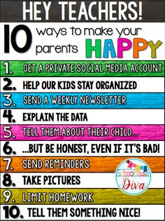 Things teachers can do to make their parents happy!  ~Schoolhouse Diva