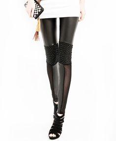 Faux Leather Mesh Leggings | #leatherweather